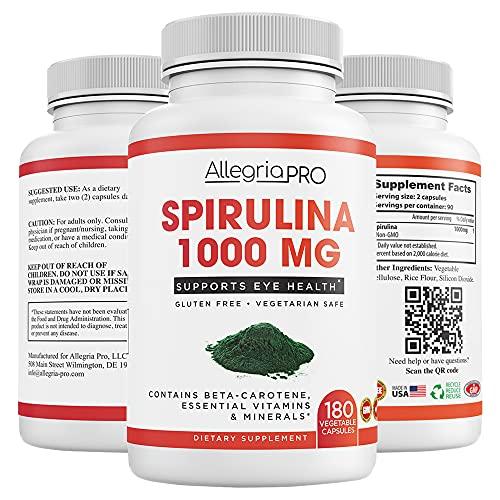 Pure Spirulina Capsules – 1000mg Serving ( 500mg Veggie Capsules ) Spirulina Powder Supplement, Natural Antioxidant Supports , Spirulina Pills Benefits Health on a Cellular Level -180 Caps- USA Made