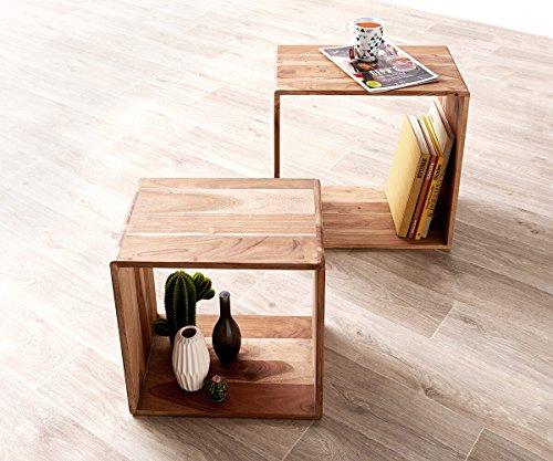 DELIFE 2er-Set-Würfelregal Eolo Akazie Natur 50x30 cm Massivholz Beistelltisch Cube