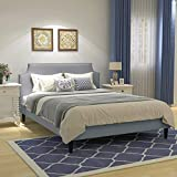 Upholstered Button Tufted Platform Bed with Headboard Strong Wood Slat Support Mattress Foundation Easy Assembly Light Grey Queen