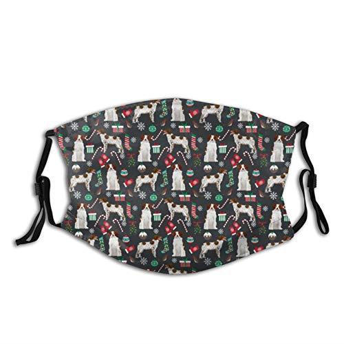 Bretagne Spaniel Weihnachten Cute Xmas Holiday Dog Design Tuch Face Cover/Sport Maske waschbar & wiederverwendbar Mundschal Erwachsene mit Filter für Staub Wind