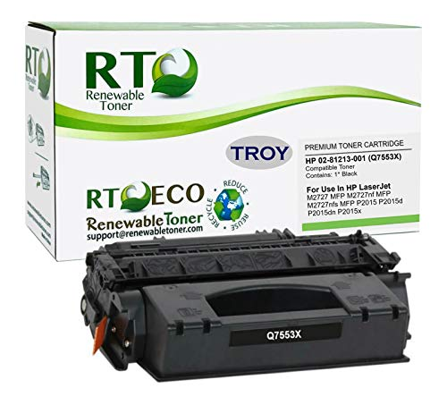 Renewable Toner Compatible MICR High Yield Toner Cartridge Replacement for HP Troy 02-81213-001 Q7553X 53X Laserjet P2015, M2727 MFP