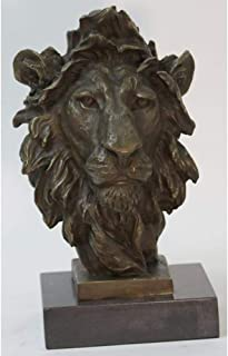 Art Deco African Lion Bust Wildlife Bronze Sculpture Statue Home Decoration Sale