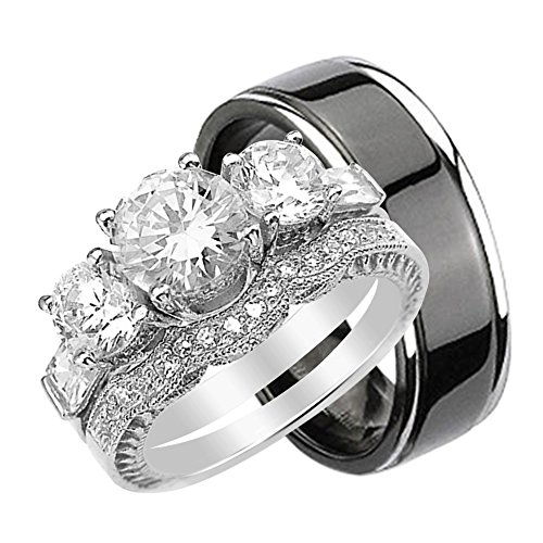 LaRaso & Co His and Hers Wedding Rings Set Her Sterling Silver Black Plated Titanium Band for Him