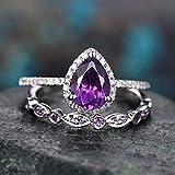 RVXZV Amethyst Ring für Frauen Silber 925 Schmuck Wassertropfen geformte Edelsteine Zweiteiliger Anzug Weibliche Hochzeitsfeier Ringe 8 LILA