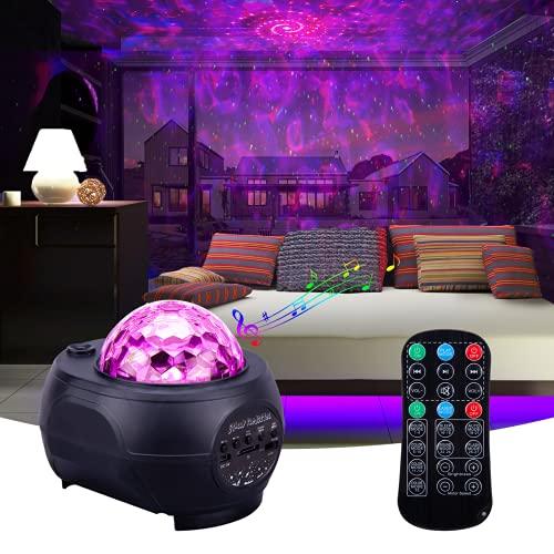 JORSHIMAN Luz LED Galaxy, Proyector de Luz, Altavoz Bluetooth, Control Remoto, Temporizador, Lámpara que Cambia de Color Relajante para Dormir con Rotación de 360 °, Decoración de Fiestas ...