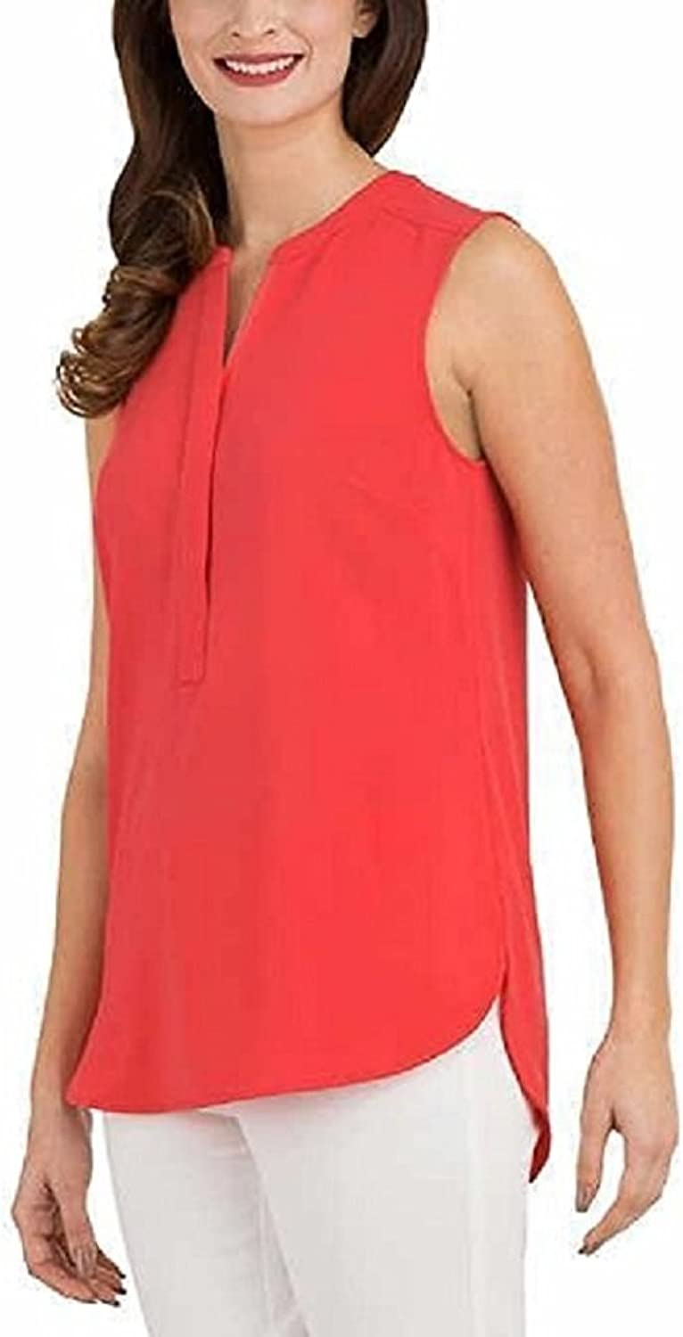 Hilary Radley Ladies Half Zip Sleeveless Blouse, Coral, Small