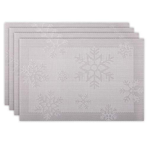 Tapetes de Mesa Juego de 4 Manteles Individuales de Mesa de Comedor Decoración de Navidad Place Mats Lavable, Antideslizante de PVC Resistente al Calor Copo de Nieve Rectangulo 45x30cm (Gris Plata)