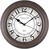 Sterling & Noble Raised Arabic Grill Round Wall Clock in Bronze
