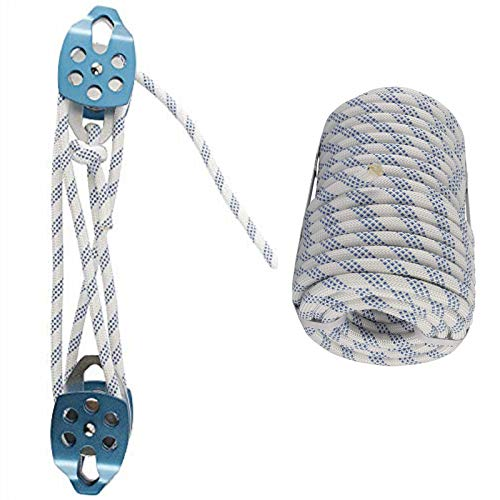 YaeMarine 1/2 Inch 100 FT Polyester Rope with Double Pulley Rigging System, Block and Tackle Pulley, Rescue Pulley System