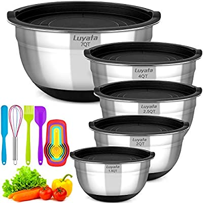 Mixing Bowls With Airtight Lids, 12PCS Stainless Steel Nesting Mixing Bowl Set - 1.5/ 2 /2.5 /3.5 /4 / 7 Quart With Non-Slip Silicone Base for Mixing & Serving & Food Storage