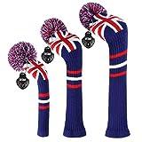EDWARD & Co - Set di 3 coprimazza da golf in maglia con bandiera del Regno Unito, per legno da fairway e ibrido con targhetta girevole