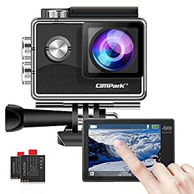 Campark X15 4K Action Camera with Touch Screen EIS Anti-Shake WiFi Waterproof Cam 30m Underwater with Mount Accessory Kits, Compatible with GoPro by Campark