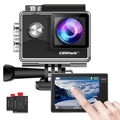 Campark X15 4K 20MP Action Cam WiFi Touchscreen EIS Unterwasserkamera 40m Helmkamera mit 170 ° Ultra-Weitwinkel und Viel Zubehör Kompatibel mit GoPro