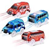 CODOMOXO - Pack de 4 coches de oruga con 5 luces LED, compatible con los vehículos de lectura Magic Tracks (4 coche)