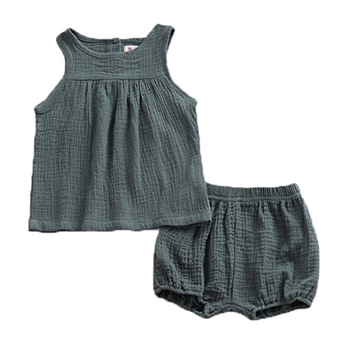 LOOLY Baby Outfits Unisex Girls Boys Cotton Linen Blend Tank Tops and Bloomers 110,Green