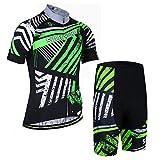 X-Labor - Juego de maillot de ciclismo para hombre (manga corta y pantalón con acolchado 3D, 4 XL), color verde