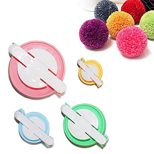 TaleeMall Herstellungs-Set für Pompon-4 Größen (klein bis groß) Pom Pom Maker Knitting Loom