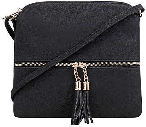 SG SUGU Lightweight Medium Crossbody Bag Shoulder Bag with Tassel and Zipper Pocket