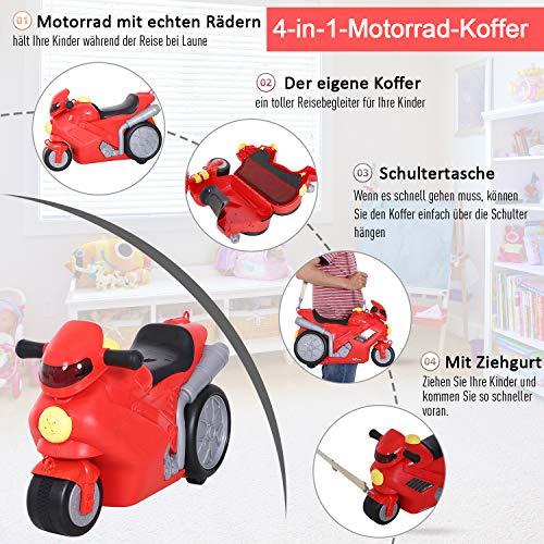 HOMCOM 4-in-1 Kinderkoffer Motorrad Kindergepäck Multifunktion Handgepäck mit Gurt zum Sitzen und Rollen mit Rädern Kunststoff Rot 52 x 25 x 34 cm 20 kg Belastbarkeit - 8