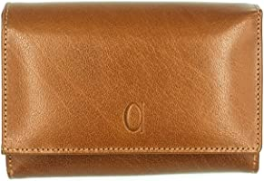 Alfa Leather Co. Leather Front-Logo Rectangular Trifold Wallet for Women - Camel