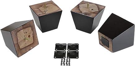 ProFurnitureParts Espresso 4 Tall Square Tapered Wood Sofa Legs w/Anti-Skid Pads,  Leg Plates Included Set of 4