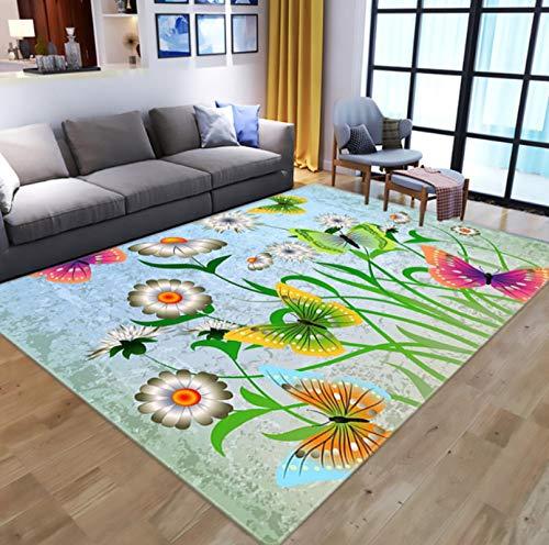 QNYH Alfombra nórdica de Flores de Mariposa de ensueño 3D para Sala de Estar, Alfombra de área de Dormitorio, Alfombra de Juego de Animales de Dibujos Animados 50cmx80cm