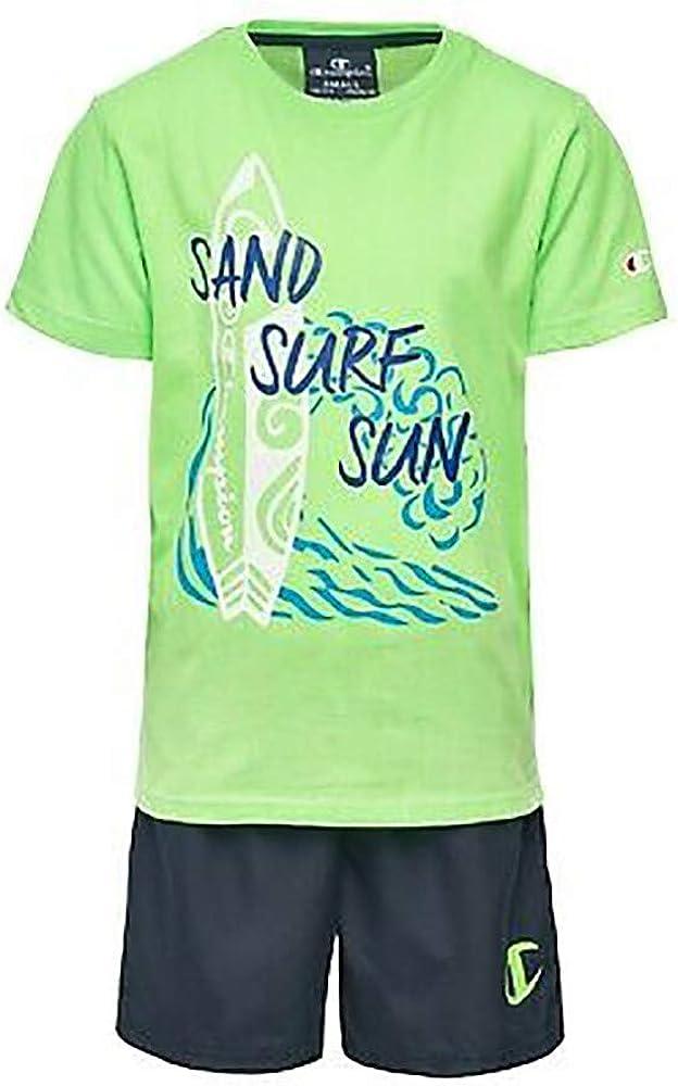 Champion Kids Swimwear Set Boy Training Tshirt Short Sports Fashion 305278-GF002