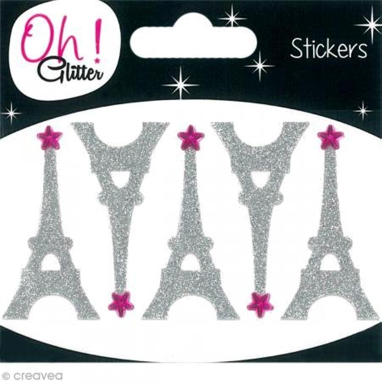 Oh ! Glitter Eiffel Tower Glitter Stickers, Paper, Silver, 6.5?x 8?x 0.2?cm