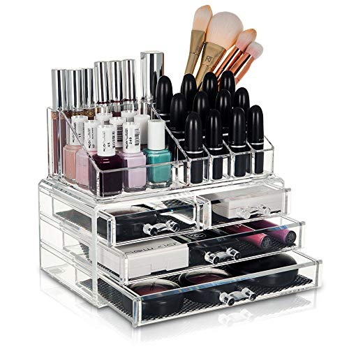 Price comparison product image FiNeWaY@ Glam Smacked 20 Section 4 Drawer Makeup Jewellery Cosmetic Display Storage Organiser Holder With Top Tray (CLEAR)