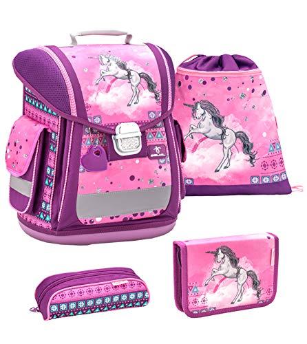 Belmil ergonomischer Schulranzen Groß Set 4-teilig für Mädchen 1, 2, 3, Klasse/Leicht: 950-1000 g/Einhorn, Unicorn/Pink, rosa (404-5 Pinky Unicorn)