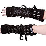 Poizen Industries Goth Rockabilly Lady Black Lace Up Buckles Orchid Armwarmers