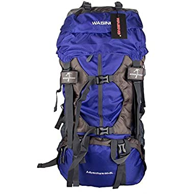WASING 55L Internal Frame Backpack Hiking Backpacking Packs for Outdoor Hiking Travel Climbing Camping Mountaineering with Rain Cover WS-55Lpack-lightblue
