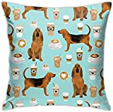 qidong Bloodhound Tela Bloodhound Tela Perros y Cafés Diseño Manta, Fundas de almohada, Cojín Felpa Decoración Hogar Cama Pilloase 45,7 x 45,7 cm