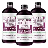 Pick Up The Beet Organic Super Beet Juice Beet Kvass: Nitric Oxide Superfood for Improved Circulation, Blood Pressure, Iron Supplement, and Hangovers - Sugarfree - 48 Ounces (3 16 Ounce Bottles)