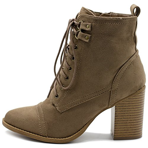 Ollio Women's Shoe Faux Suede Lace Up Stacked High Heel Ankle Boots SSB09 (11 B(M) US, Taupe)