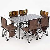 7 PCS Camping Tisch- und Stuhlset, tragbares klappbares Picknicktischset aus Aluminiumlegierung für 6 Personen, Gartengrillhocker im Freien (Farbe: Blau)