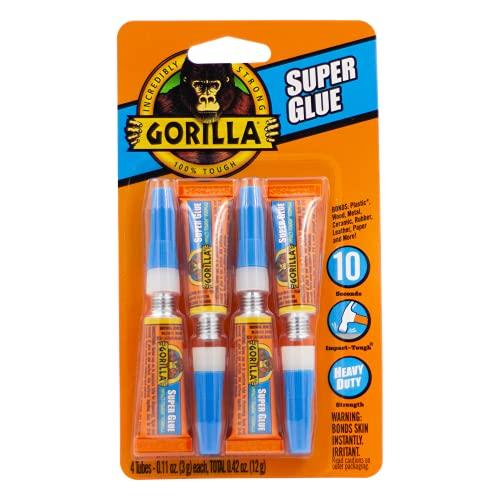 Gorilla Super Glue, Four 3 Gram Tubes, Clear, (Pack of 1)