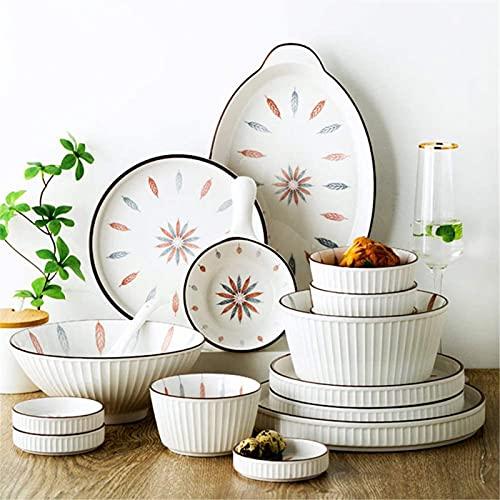 Juego de Platos, 38 PC Conjuntos de vajilla, vajilla de porcelana de estilo chino Conjunto con platos y tazones, cena de cerámica blanca Conjunto de cocina para casas y comedor, microondas y lavavajil