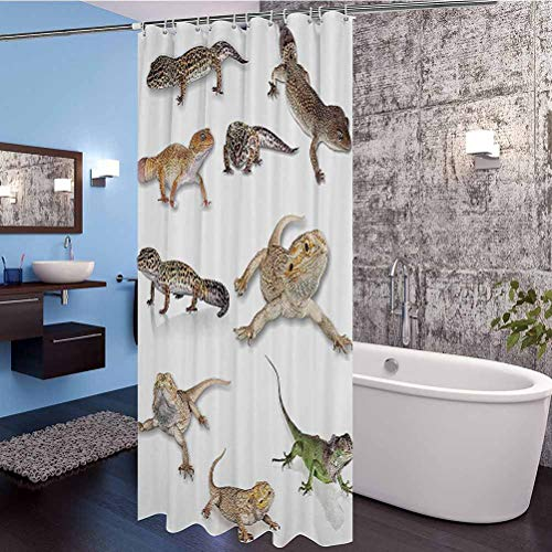 Reptile Shower Curtain Set, Multi Colored Staring Leopard Gecko Family Image Primitive Reptiles Wildlife Art Print Home Heavy Duty Fabric, Water Repellent Bath Curtain, 66' x 72'