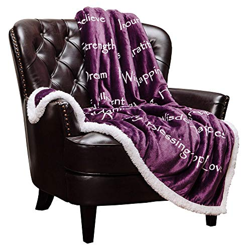 Chanasya Hope Faith Love Joy Inspiring Message Gift Throw Blanket - Perfect Caring Uplifting Thoughtful Personalized Gift for Blessing Peace Prayer for Male Female Best Friend - Aubergine Throw