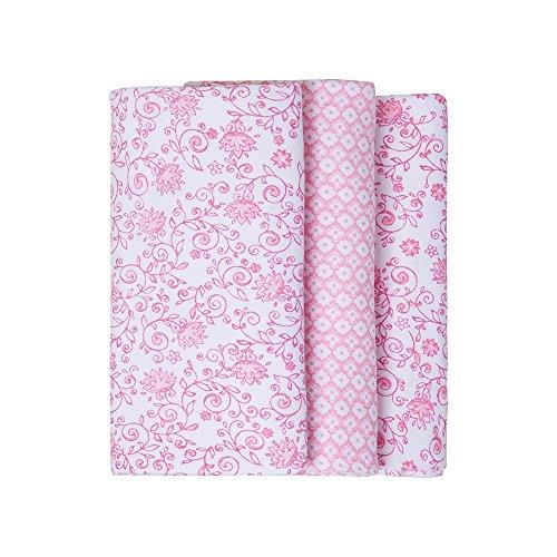 Cueiro Composê Estampado, Papi Textil, Rosa, 80cmx50cm