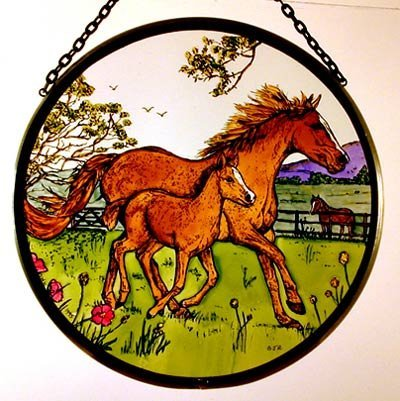 Decorative Hand Painted Stained Glass Window Sun Catcher/Roundel in a Horse and Foal Country Scene Design.