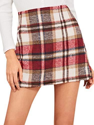 MakeMeChic Women's Plaid Skirt Zipper Back High Waist A-Line Mini Skirt D Beige red L