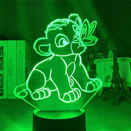 3D Illusion Lampe Led Veilleuse Le Roi Lion Simba Jouer Scènes Maison Enfants Lampe De Table Pour Chambre Usb Acrylique
