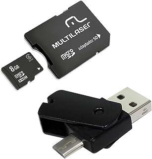 Kit Dual Drive OTG + Adaptador SD + Cartão de Memória Classe 4 8GB Preto Multilaser- MC130