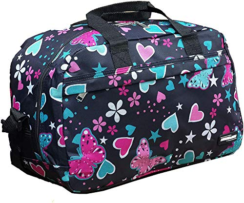 Ryanair Cabin Bags 40x20x25 Hand Luggage Maximum 2020 Size Holdall, Free Under Seat Flight Bag (1 x Hearts & Buuterflies Bag)