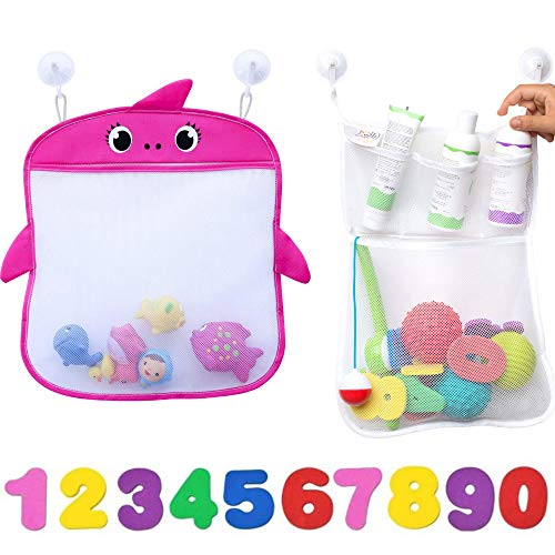 Bath Toy Organizer Set of 2 Holders+10 Foam Numbers+8 Suction&Sticker Hooks |Baby and Toddlers Bathtub Mesh Bag Premium Quality | 2 Quick Dry Tub Holder for Mold Free Toys|Pink Shower Caddy Bin