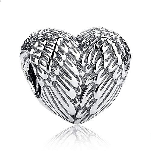 Abalorio de plata de ley 925 con forma de corazón, diseño de...