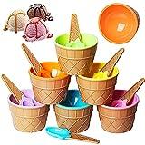 OYSJ Set di 6 Ciotole per Gelato con cucchiai Coordinati,Ciotola per Gelato Color Caramella Cartone Animato,Festive Dessert Ciotole Ciotole e cucchiai da Dessert per Gelato(6 Colori)