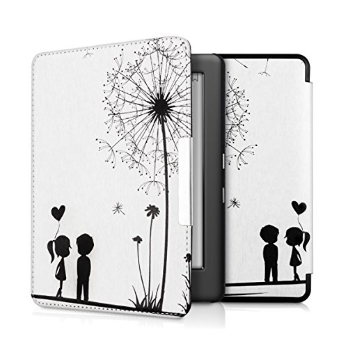 kwmobile Cover Compatibile con Kobo GLO HD/Touch 2.0 - Custodia in Pelle PU - Flip Case per eReader - Amore Nero/Bianco